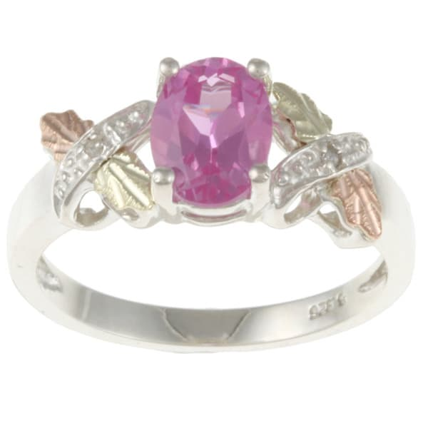 Black Hills Gold and Sterling Silver Created Pink Sapphire and Diamond Accent Ring