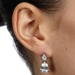 Icz Stonez Black Rhodium over Sterling Silver Cubic Zirconia Dangle Earrings