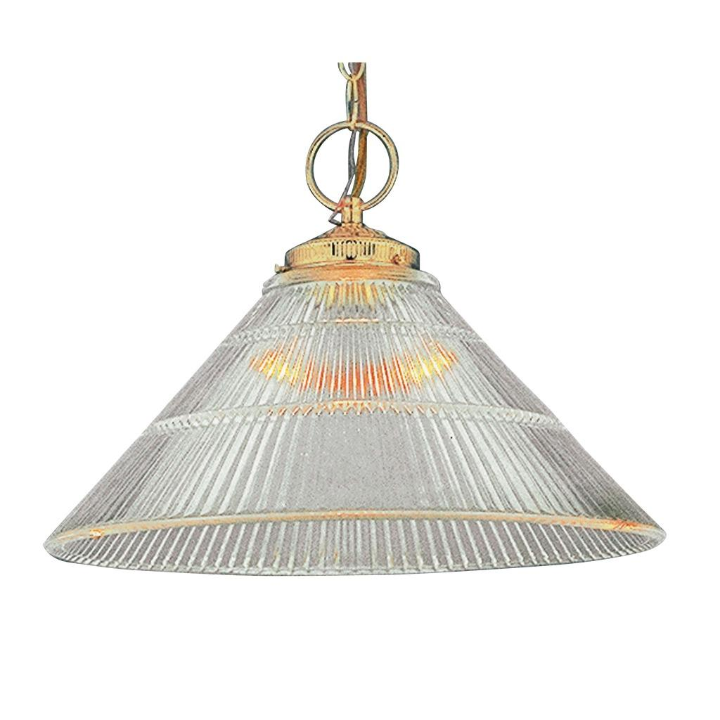 Transitional 1-light Polished Brass Pendant Fixture