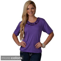 Adi Designs Women's Satin Embellished Neck Tee