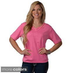 Adi Designs Women's Pullover Embellished Neck Tee
