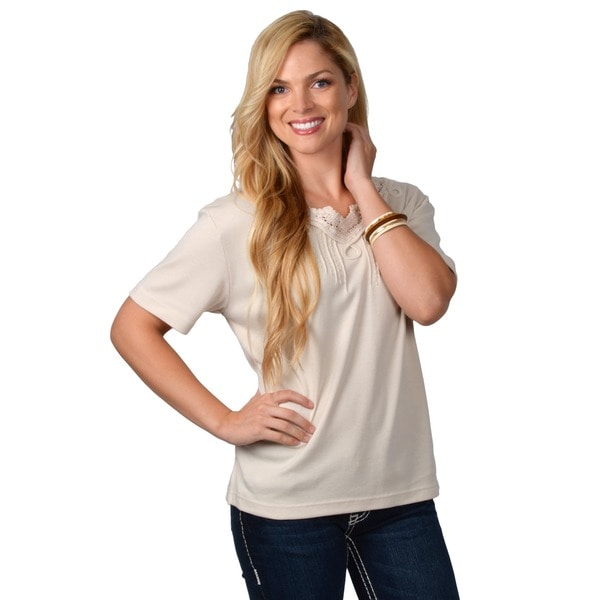 Adi Designs Women's Missy-Fit Embellished Neck Tee