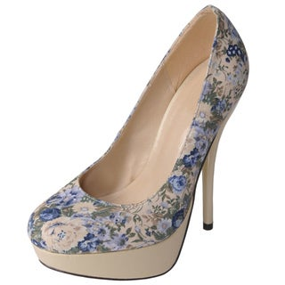 Glaze by Journee Co Women's 'Nicole-2-Bei' Floral Print Platform Pumps