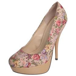 Glaze by Journee Co Women's 'Nicole-2-Tau' Floral Print Platform Pumps