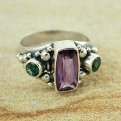 Sterling Silver Amethyst and Green Quartz Bead Ring (Indonesia)