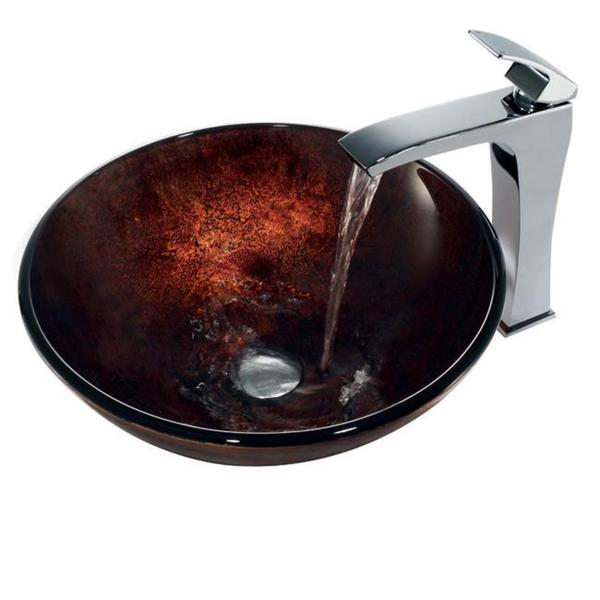 VIGO Russet Glass Vessel Bathroom Sink and Faucet Set in Chrome