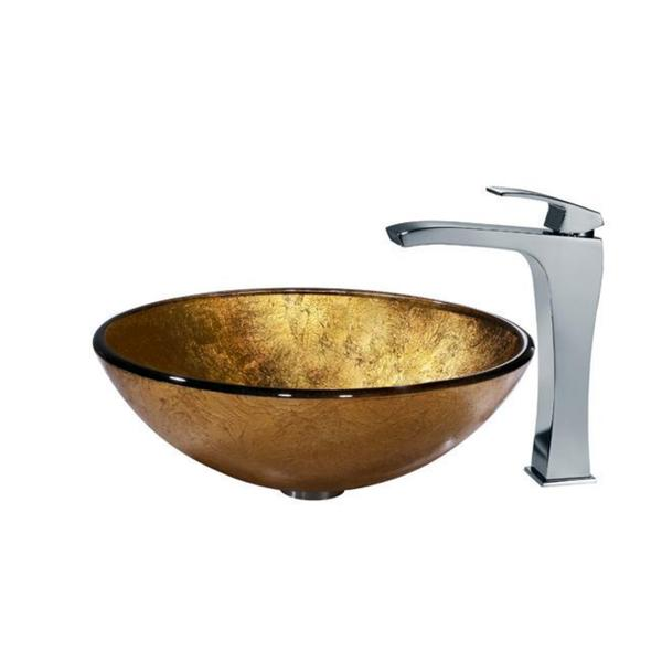 VIGO Liquid Gold Glass Vessel Sink and Faucet Set in Chrome