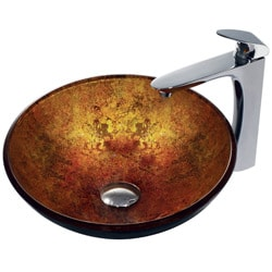 VIGO Livorno Glass Vessel Sink and Faucet Set in Chrome