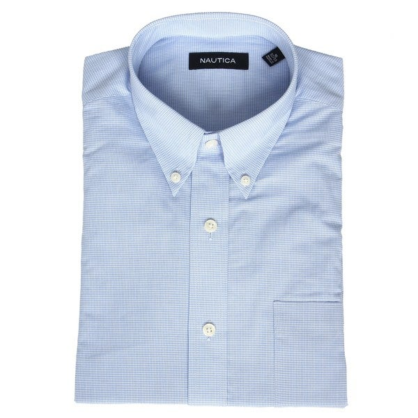 Nautica men 39 s no iron light blue gingham dress shirt for Mens no iron dress shirts