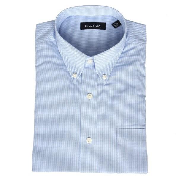 Nautica Men 39 S No Iron Light Blue Gingham Dress Shirt