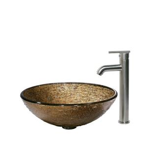 VIGO Textured Copper Glass Vessel Sink and Faucet Set in Brushed Nickel