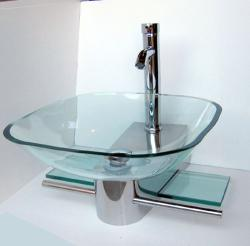 Kokols Wall Mount Vanity and Glass Vessel Sink Combo