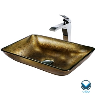 VIGO Rectangular Copper Glass Vessel Sink and Faucet Set in Chrome
