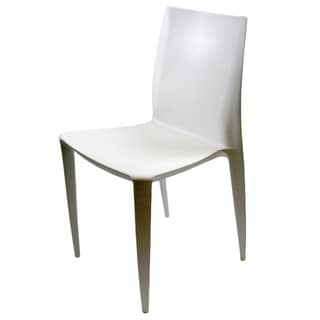 Square White ABS Dining Side Chairs (Set of 2)