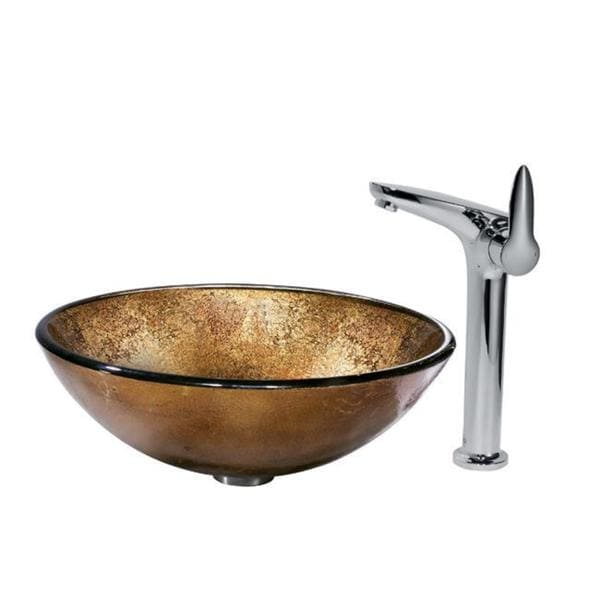 VIGO Russet Tempered-Glass Vessel Sink and Faucet Set in Chrome