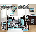 Sweet Jojo Designs Blue Funky Zebra 9-piece Crib Bedding Set