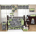 Sweet Jojo Designs Green Funky Zebra 9-piece Crib Bedding Set