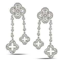 Miadora 14k White Gold 3/4ct TDW Diamond Flower Dangle Earrings (I-J, I2-I3)