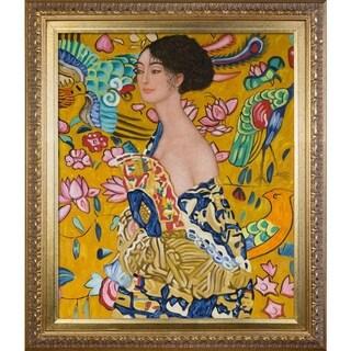 Gustav Klimt 'Signora con Ventaglio' Framed Canvas Art