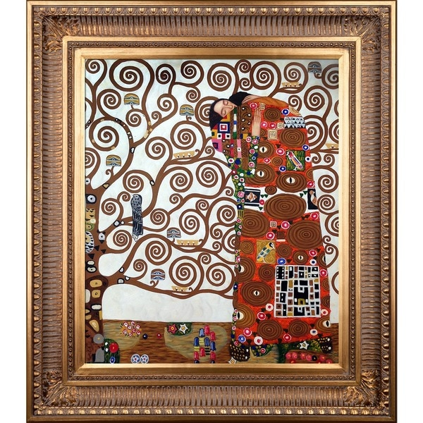 Gustav Klimt 'Fulfillment-The Embrace' Framed Hand-Painted Casual Canvas Art