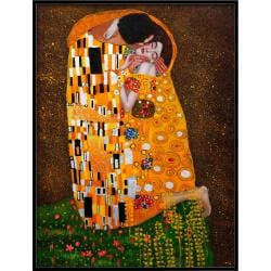 Klimt Paintings 'The Kiss (Full View)' Hand-painted Framed Canvas Art