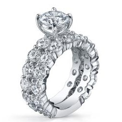 18k White Gold 4 7/8ct TDW Diamond Bridal Set (G-H, SI1-SI2)