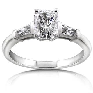 Annello 14k White Gold 1 1/3ct TDW Certified Diamond Engagement Ring (F, SI2)