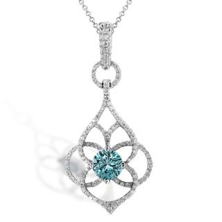 Annello 18k/ 14k Gold 1 1/10ct TDW Blue and White Diamond Necklace (G-H, SI1-SI2)