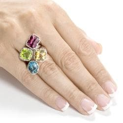 Annello Sterling Silver Peridot, Citrine, Pink Tourmaline and Blue Topaz Ring