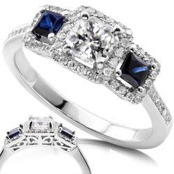 Annello 14k White Gold 7/8ct TDW Diamond Blue Sapphire Ring (H-I, SI2-SI3)