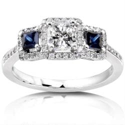 Annello 14k White Gold 7/8ct TDW Diamond Blue Sapphire Ring (H-I, SI2-SI3)