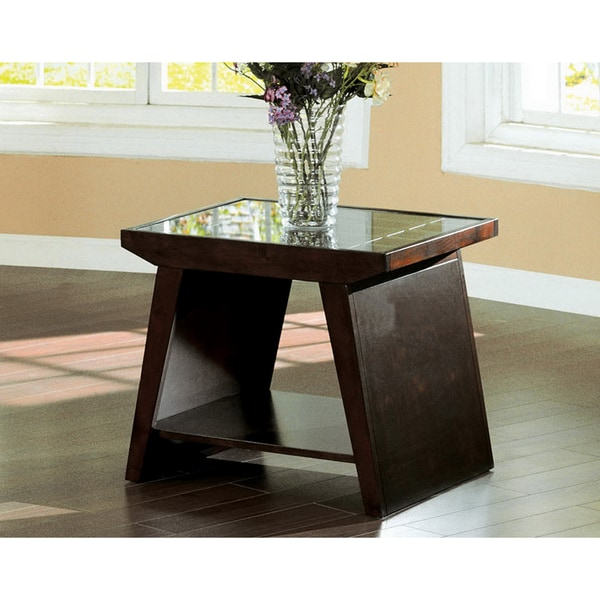 Furniture of America Miranda Walnut End Table