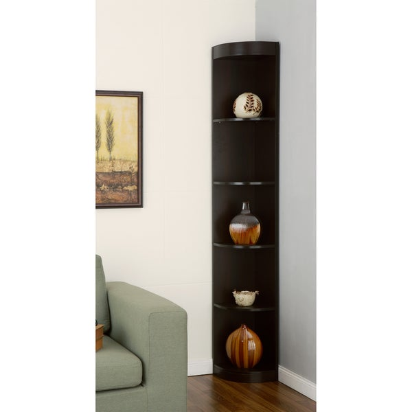 ... America Skyler Modern Cappuccino 5-shelf Corner Bookshelf Display Unit