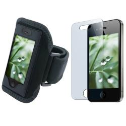 Black Deluxe Armband with Screen Protector for Apple iPhone 4
