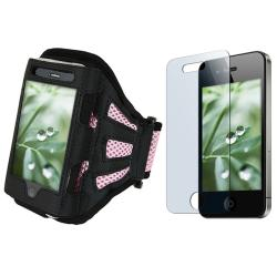 INSTEN Deluxe Black/ Light Pink Armband/ Screen Protector for Apple iPhone 4