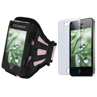 Deluxe Black/Light Pink Armband/Screen Protector for Apple iPhone 4