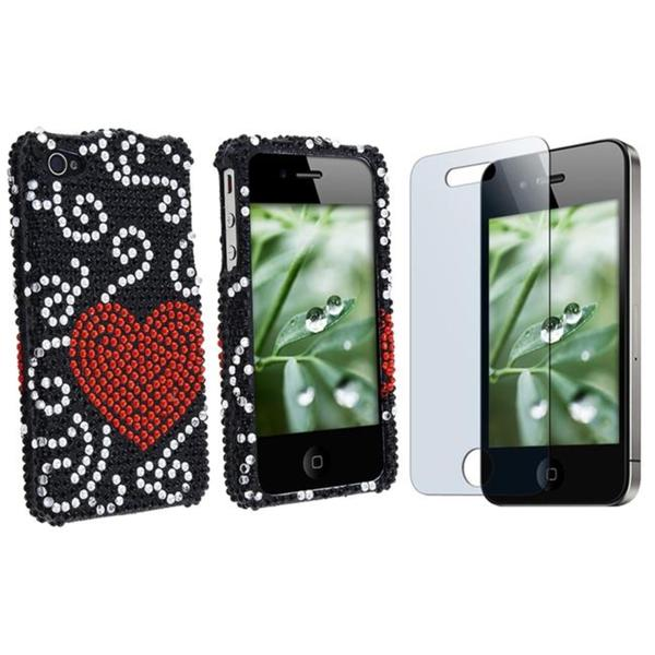 Heart Case/ Screen Protector for Apple iPhone 4