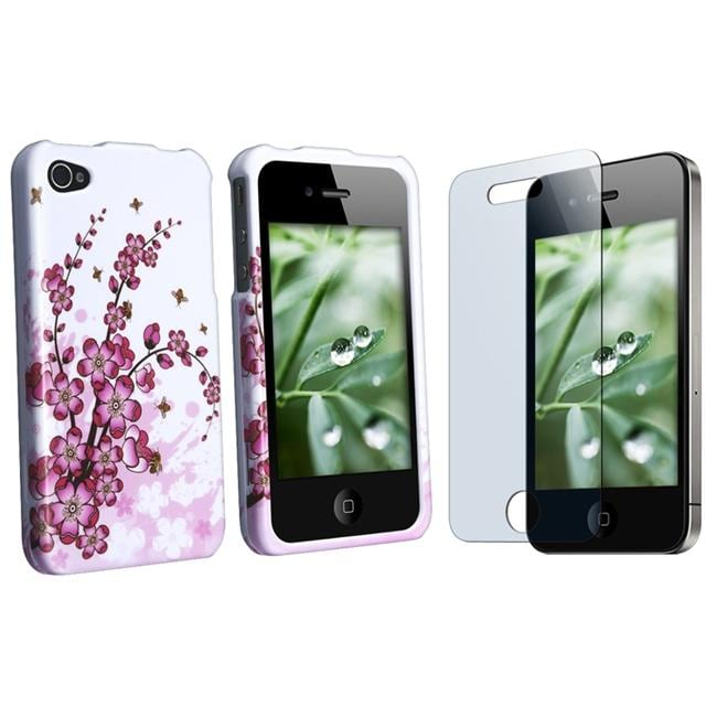 INSTEN Flower Phone Case Cover/ Screen Protector for Apple iPhone 4