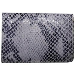 Leatherbay Grey Leather Snake Print Card Holder