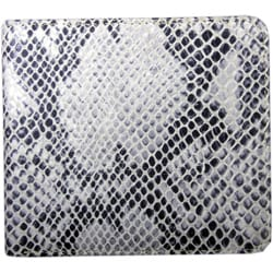 Leatherbay Grey Leather Snake Print Bi-fold Wallet