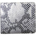 Leatherbay Grey Leather Snake Print Bi-fold Wallet