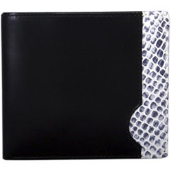Leatherbay Black Leather Snake Print Bi-fold Wallet