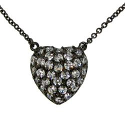 Black Rhodium over Sterling Silver Cubic Zirconia Heart Necklace