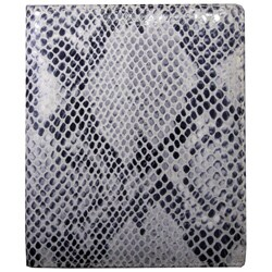 Leatherbay Grey Leather Snake Print Large Bi-fold Wallet