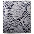 Leatherbay Grey Leather Snake Print Large Bi-fold Wallet