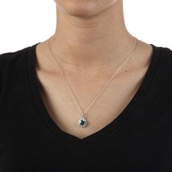 Sofia 10k White Gold Blue Topaz and 1/6ct TDW Diamond Necklace (H-I, I1-I2)