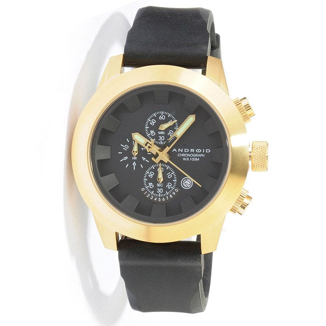 Android Men's Antiforce Chronograph 2 Goldtone Rubber Strap Watch