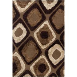 Hand-Tufted Mandara Abstract Brown Area Rug (8' x 11')