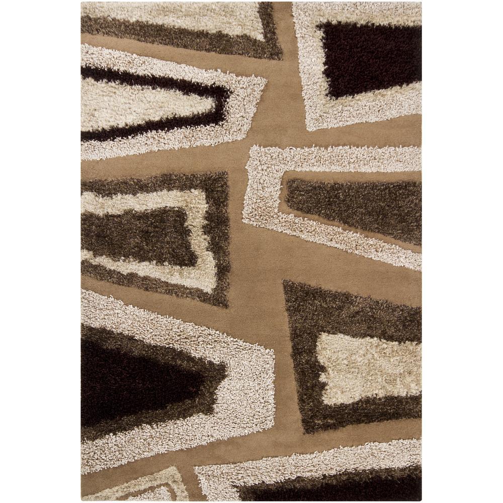 Hand-tufted Mandara Abstract Brown Rug (8' x 11')