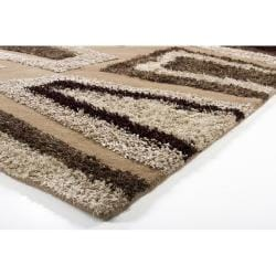 Hand-tufted Mandara Abstract Brown Rug (8' x 11')